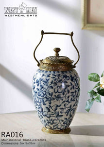 Gilt Bronze Porcelain Covered Pot Centerpiece