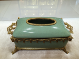 Gilded Dior Ormolu Porcelain Tissue Box Centerpiece