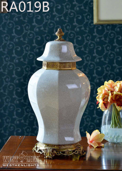 Gilded Bronze Ormolu Trim Jar Covered Urn -  westmenlights