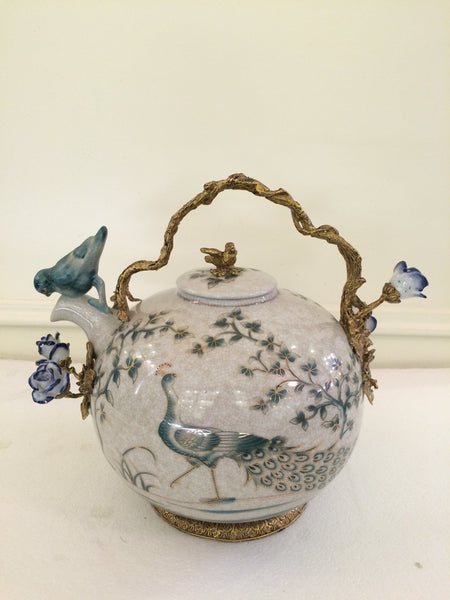 Bronze Mounted Porcelain Tea Pot
