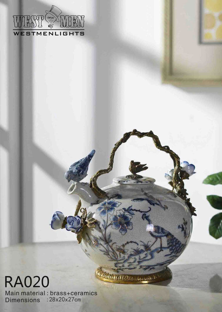 Bronze Mounted Porcelain Tea Pot -  westmenlights