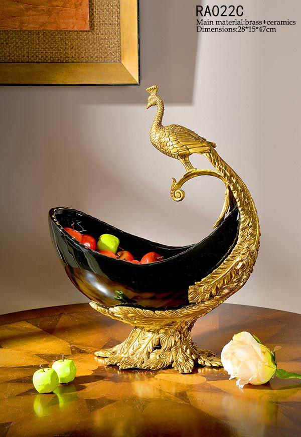 Peacock Gilt Bronze Compote Fruit Bowl Centerpiece Dish