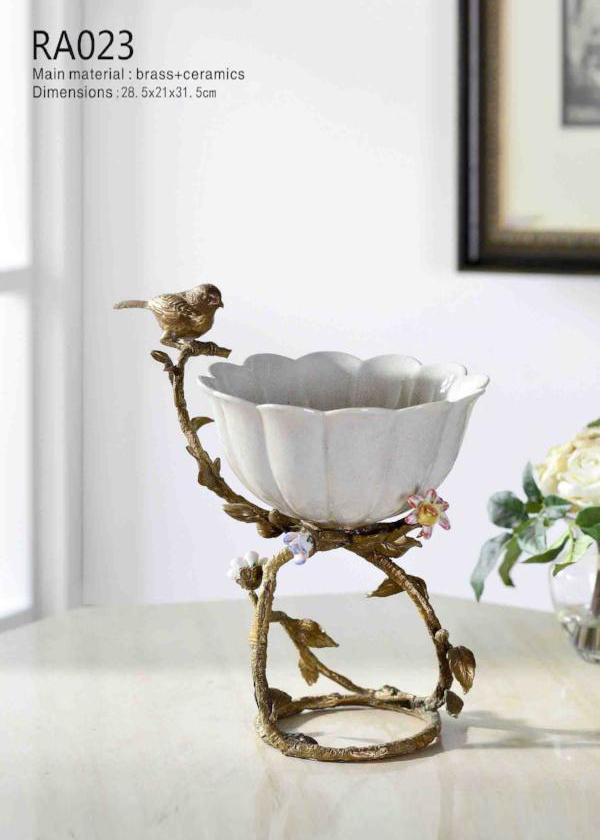 Modern Brass Porcelain Fruit Bowl Melon Shape