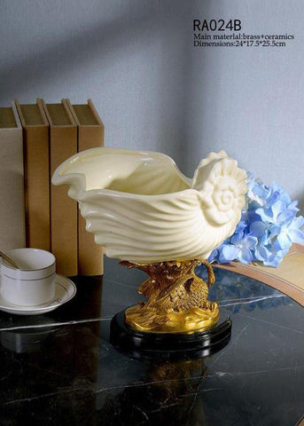Classical Porcelain Basin White Shell Shape Centerpiece