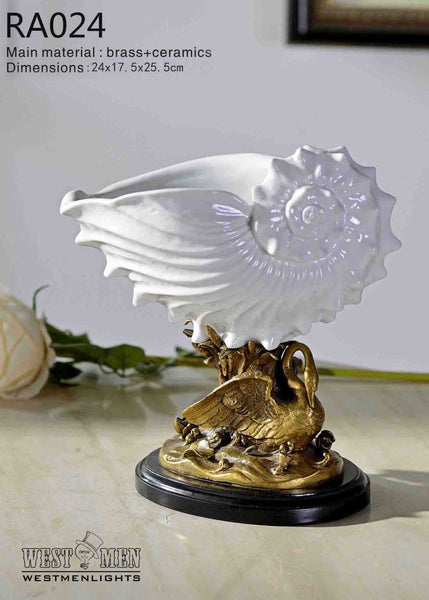 Classical Porcelain Basin White Shell Shape Centerpiece -  westmenlights