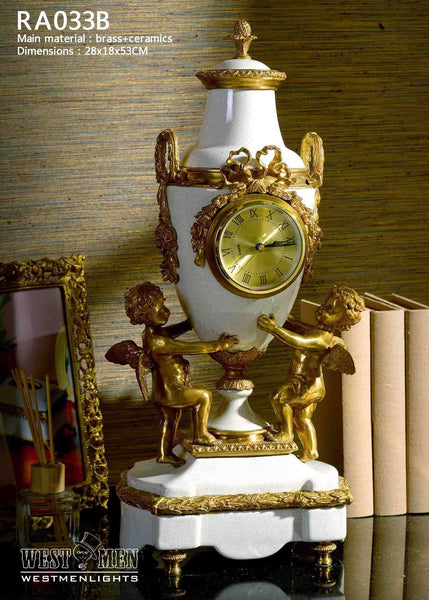 Gilt Bronze Angel Mounted Luxury Porcelain Clock -  westmenlights