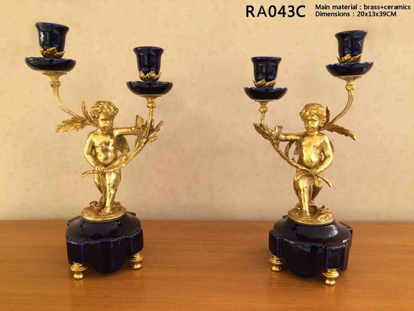 Pair(2 Pieces)Gilt Bronze Angel Porcelain Candelabras -  westmenlights