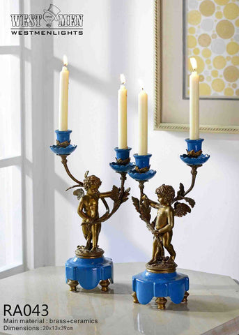 Pair(2 Pieces)Brass Angel Porcelain Candelabras