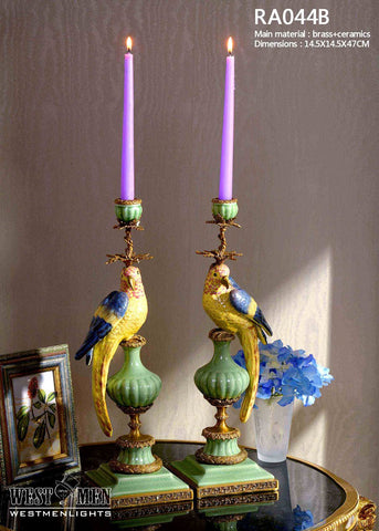 Pair(2 Pieces) Porcelain Candlesticks with Gilded Dior Ormolu Trim