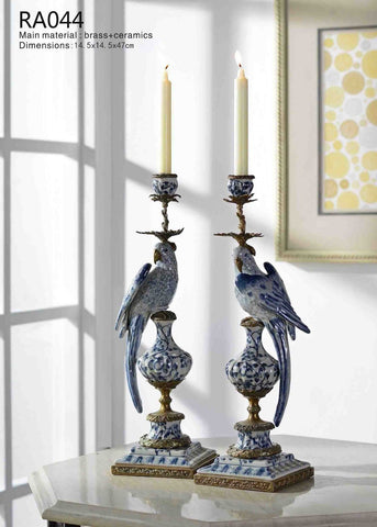 Decorative Antique Blue and White Single Head Candlestick -  westmenlights