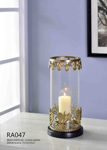 Gilt Bronze Glass Candleholder -  westmenlights