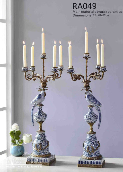 Pair(2Pieces) Gilt Bronze Porcelain Parrot Candelabras -  westmenlights