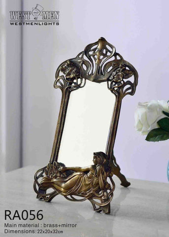 Gilt Brass Ormolu Tabletop Mirror -  westmenlights