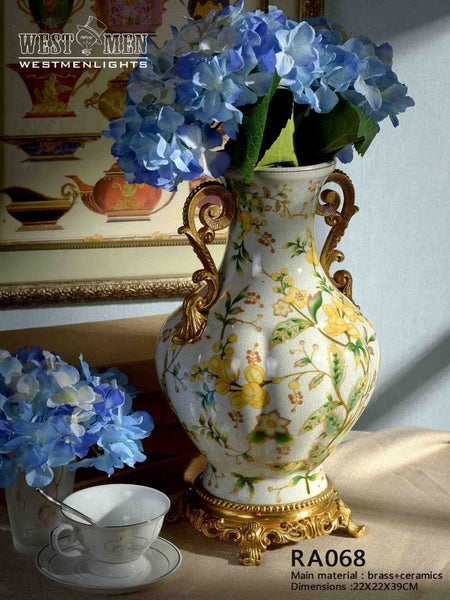 Porcelain Centerpiece Flower Vase Gilded Dior Ormolu Trim Urn