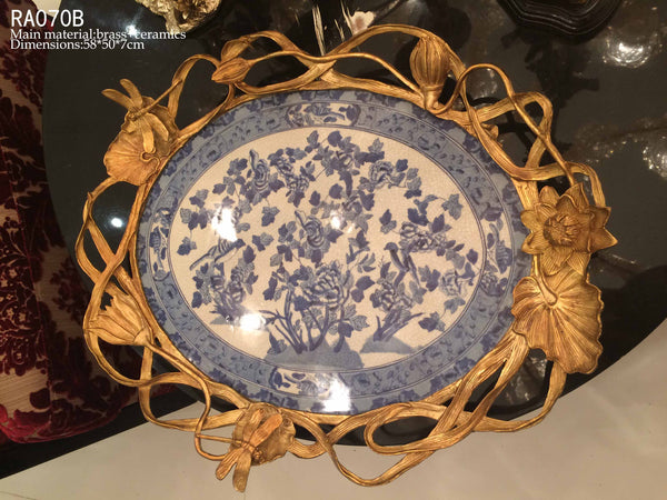 Classical Craft Brass Porcelain Decorative Plate -  westmenlights