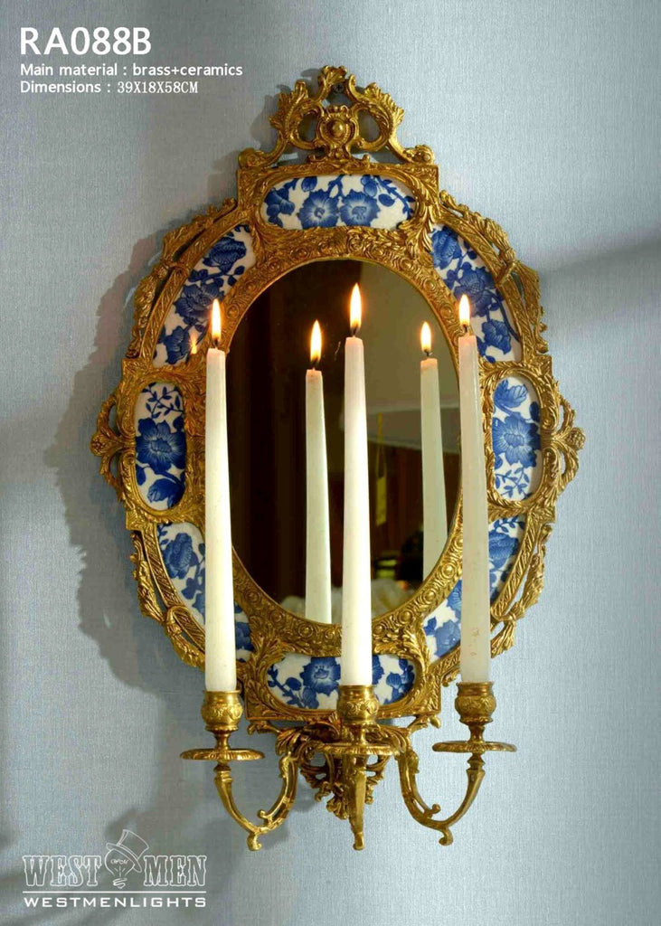 Gilt Brass Ormolu Wall Mirror with Candle Holder