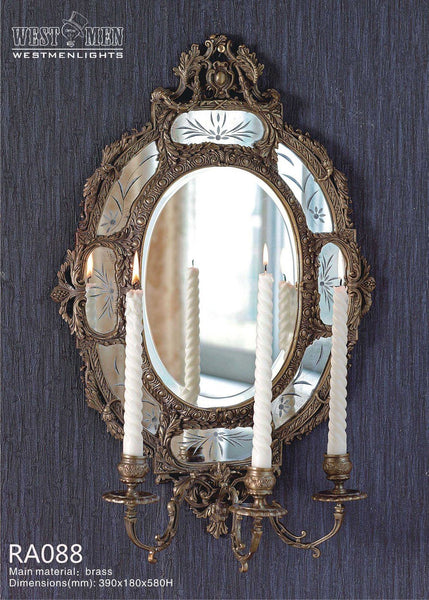 Gilt Brass Ormolu Wall Mirror with Candle Holder -  westmenlights