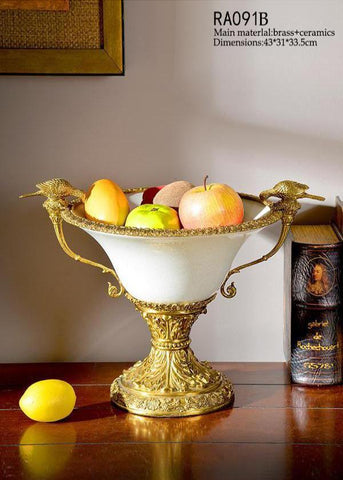 Handmade Trophy Brass Porcelain White Fruit Bowl