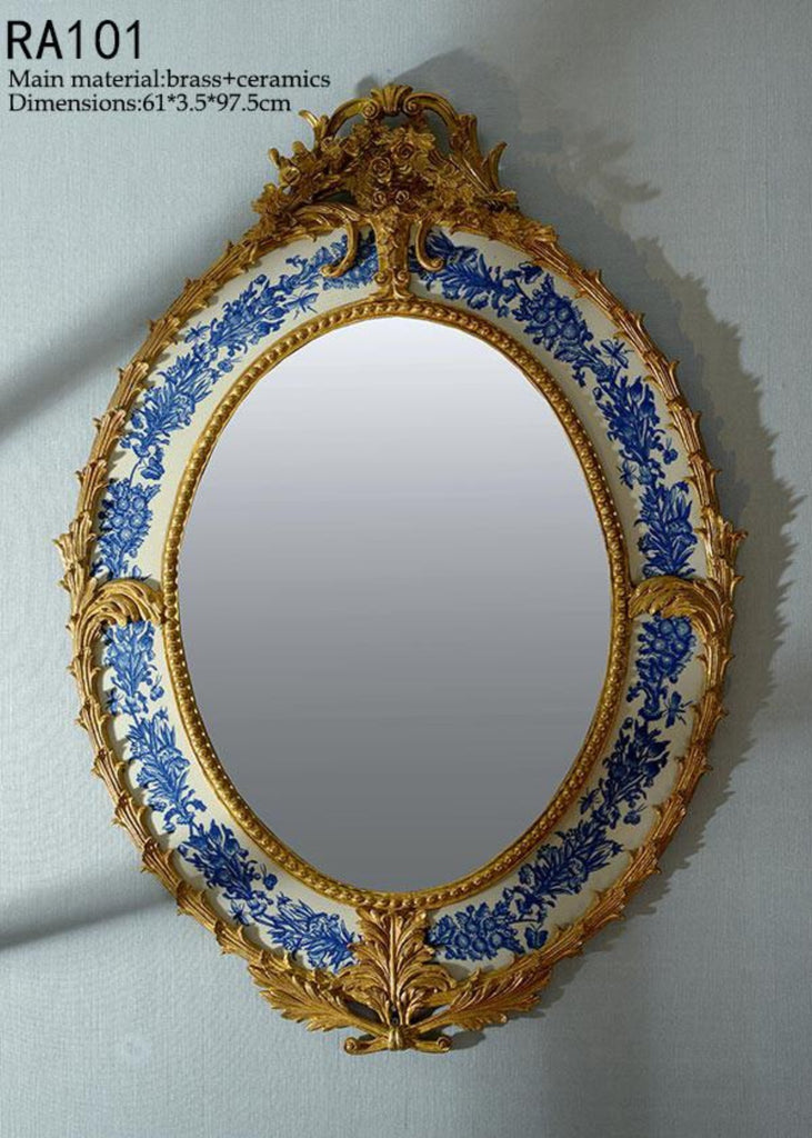Oval Gilt Bronze Blue and White Hanging Mirror -  westmenlights