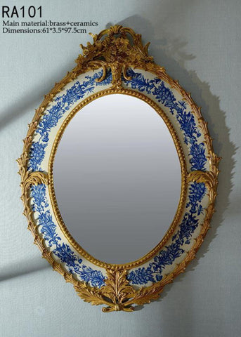 Archaized Blue and White Hanging Mirror