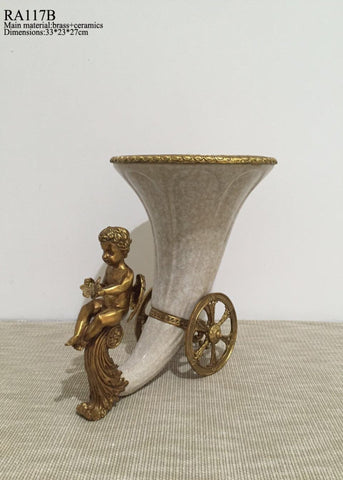 antique brass porcelain horn centerpiece