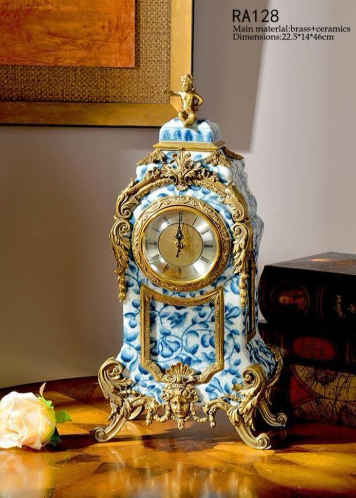 Gilt Bronze Blue and White Decorative Clock -  westmenlights
