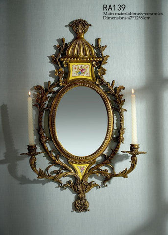 Gilt Bronze Wall Mirror With Candlesticks -  westmenlights
