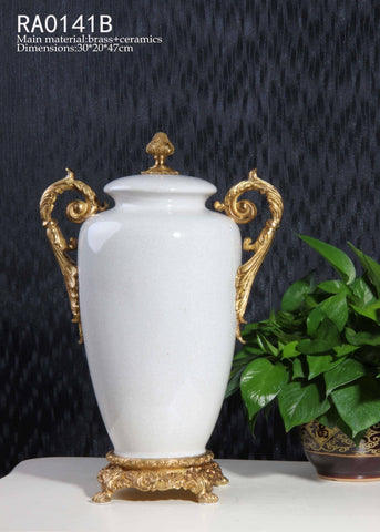 Handmade White Porcelain Decorative Pot Centerpiece -  westmenlights