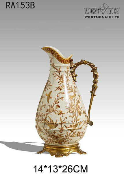 Gilt Bronze Crackle Porcelain Ewers Pitchers -  westmenlights
