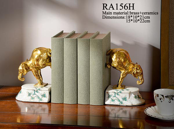 Ormolu Mouted Bull Bookends