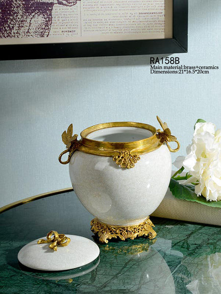 Gilt Bronze Yellow Traditional Dragonfly Container -  westmenlights