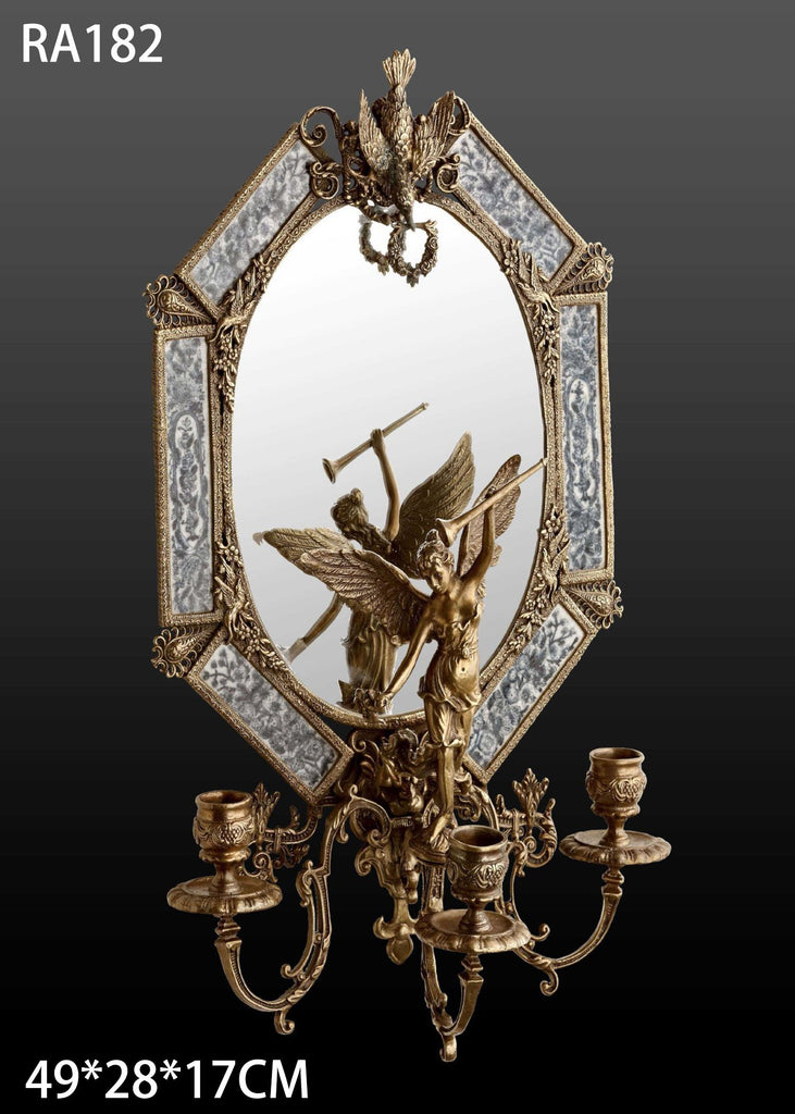 Gilt Bronze Wall Mirror as Candlestick -  westmenlights