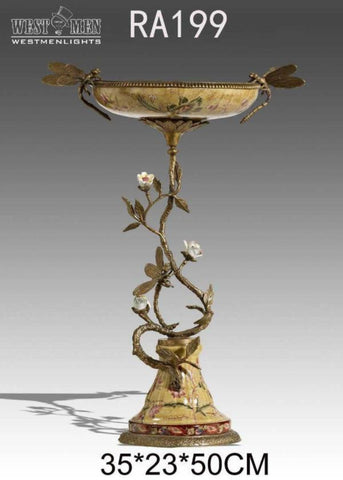 Gilt Bronze Compote Fruit Bowl Pedestal Dish