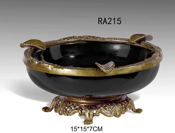 Gilt Bronze Floral Porcelain Ashtray -  westmenlights