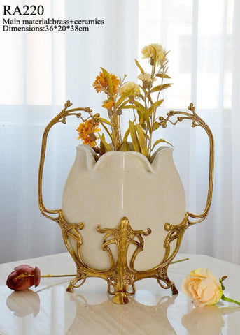 Luxurious Porcelain Bronze Craft White Centerpiece
