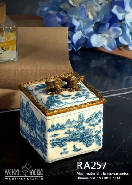 Bronze Mounted Decorative Porcelain Mini Box -  westmenlights