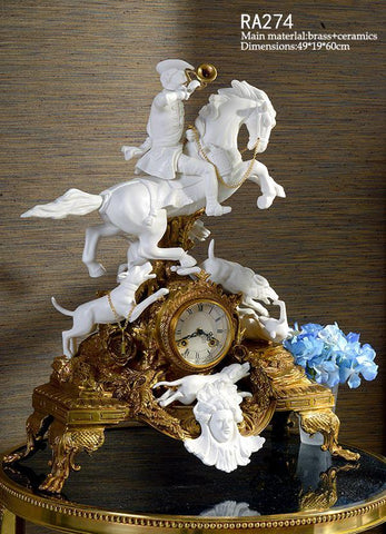 Bronze Clock Porcelain Craft