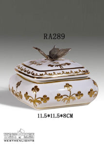 Bronze Butterfly Decorative Porcelain Mini Floral Box