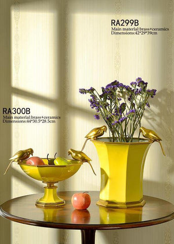 Gilt Bronze Porcelain Yellow Bowl -  westmenlights