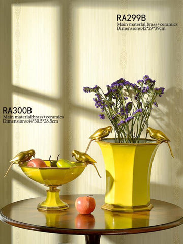 Gilt Bronze Porcelain Yellow Vase -  westmenlights