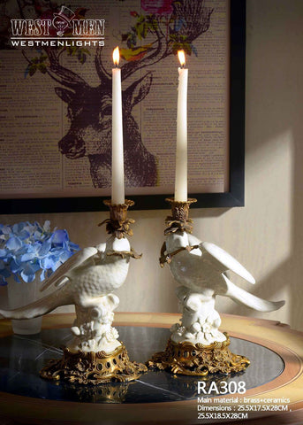 Pair(2 Pieces)Brass Porcelain Bird Standing Candlesticks