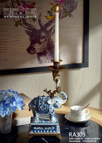 Porcelain Blue and White Elephant Standing Candlesticks