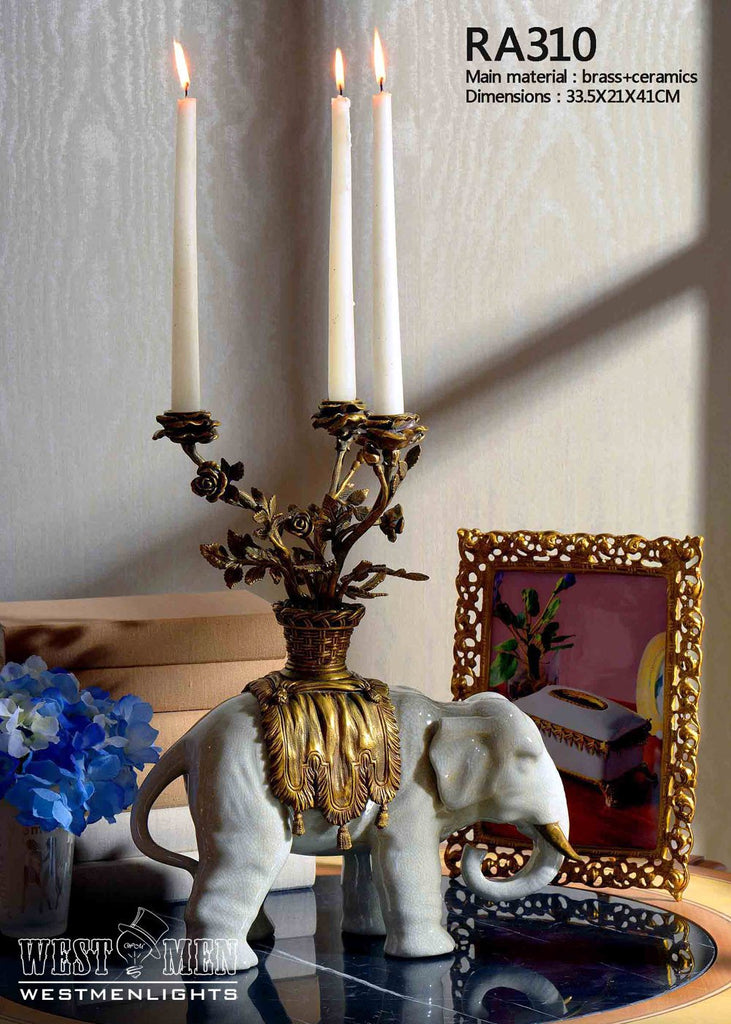 Ormolu Mounted Elephants Candelabras -  westmenlights