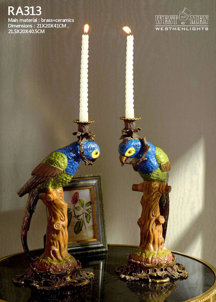 Pair(2 Pieces)Ormolu Mounted Porcelain Parrot Standing Candlesticks -  westmenlights