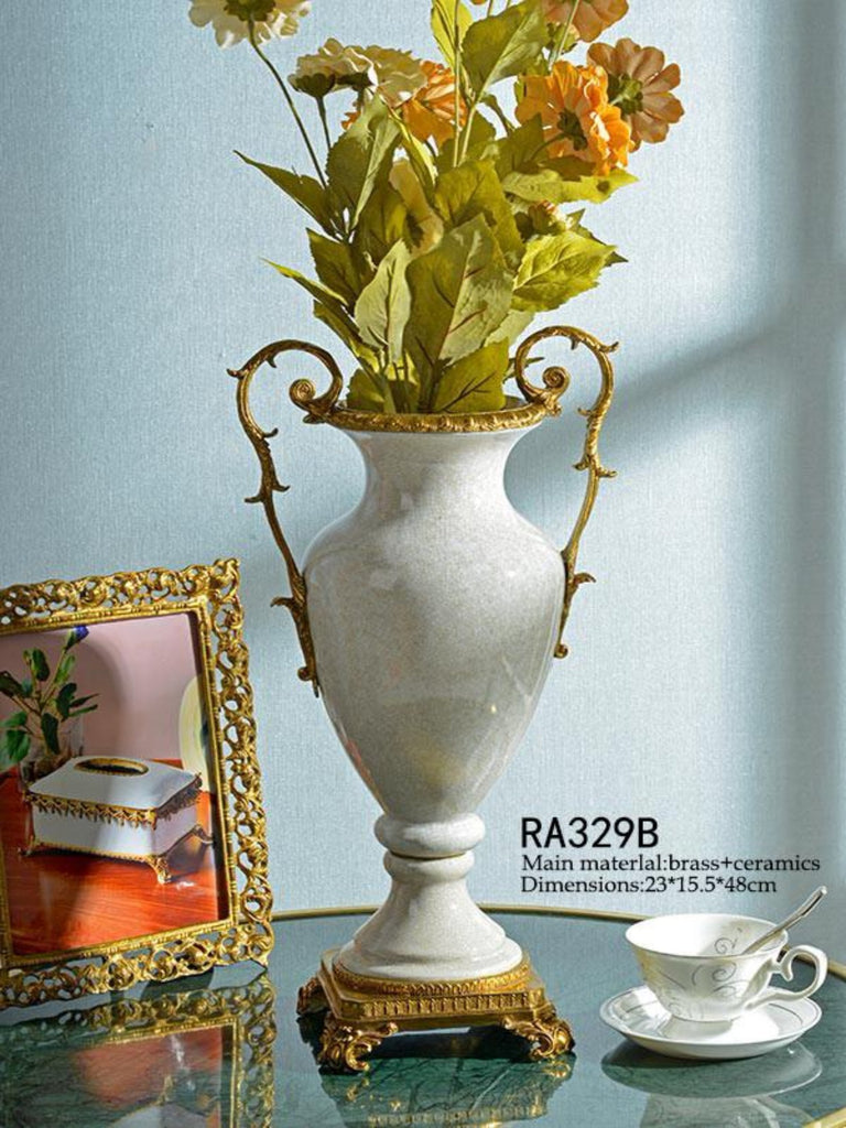 Handmade Porcelain Bronze White Centerpiece Craft -  westmenlights