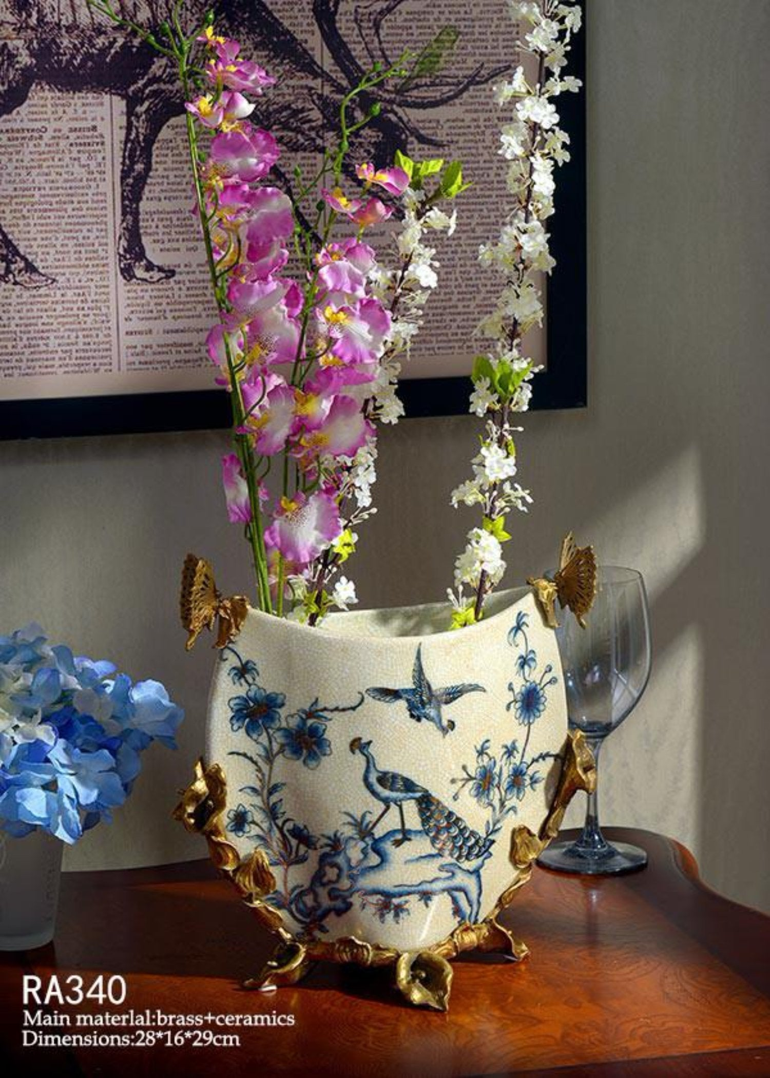 Golden Peacock Low Vase