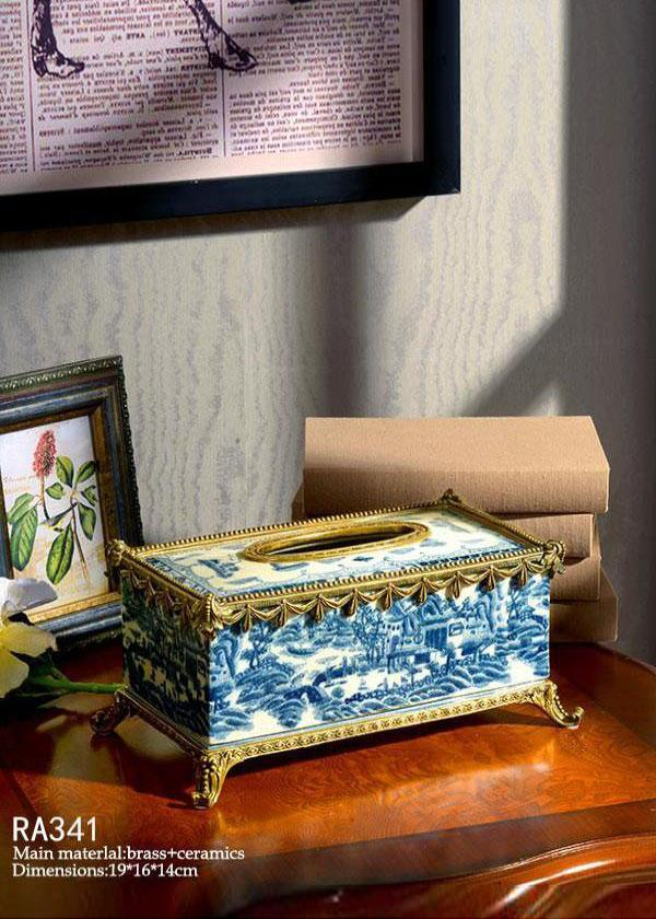 Gilt Bronze Rectangular Tissue Box -  westmenlights