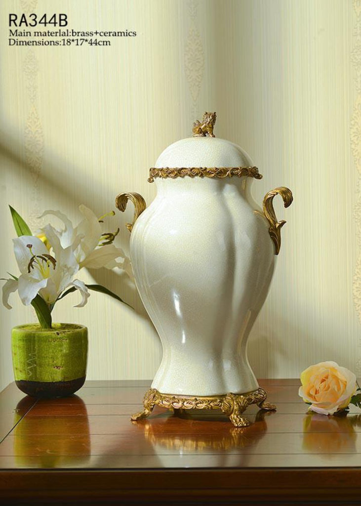 European Porcelain Bronze Decorative Pot Centerpiece -  westmenlights