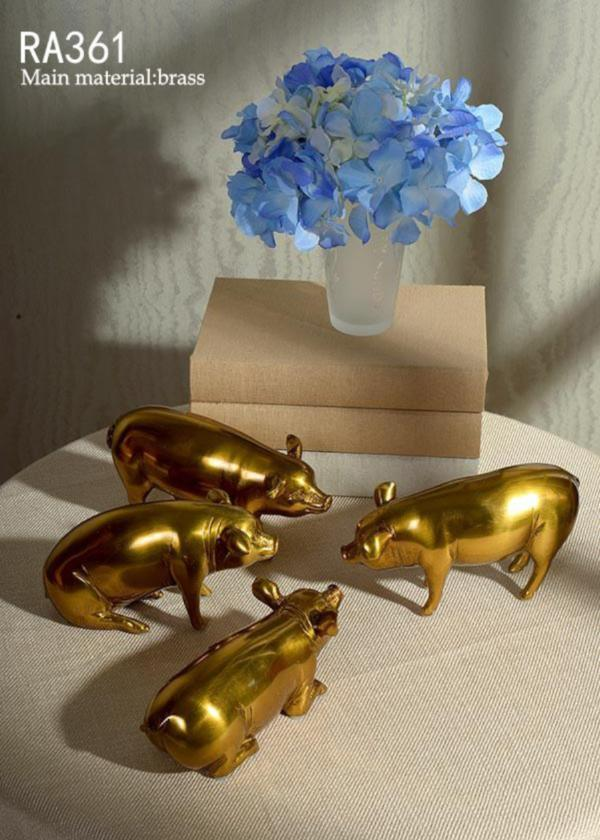 Gilt Bronze Handmade Pigs Set Of 4 -  westmenlights