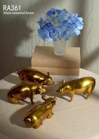 Unique Bronze Handmade Pigs Set Of 4